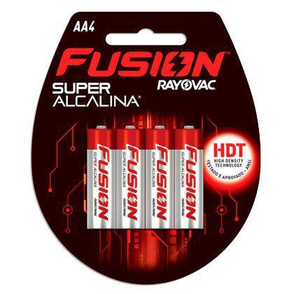 Pilhas Super Alcalinas Rayovac Fusion Pequena AA 01 Cartela com 04 Unidades