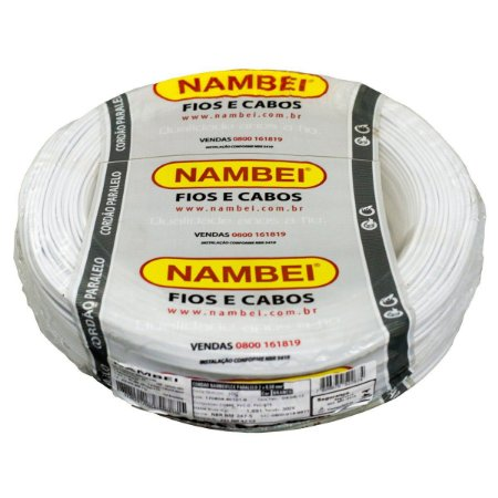 Fio Cordão Paralelo Branco Nambei 2x0,50mm Rolo 100 Metros