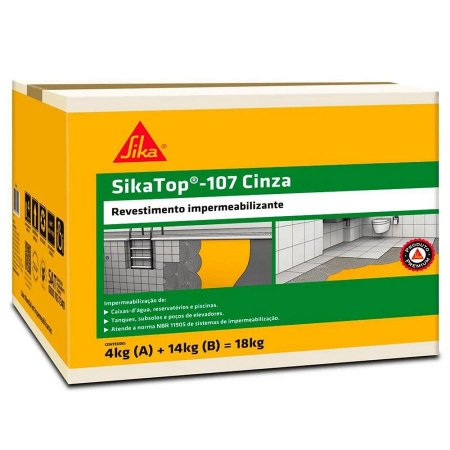 Impermeabilizante Sika Top 107 Cinza Azulado Caixa 18kg