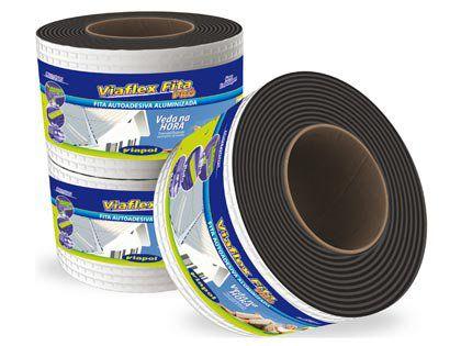 Fita Impermeabilizante Viaflex Alumínio 10cm Rolo 10 Metros