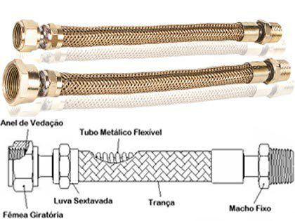 """Mangueira Flexível de Metal para Gás 1/2"""" 30cm"""