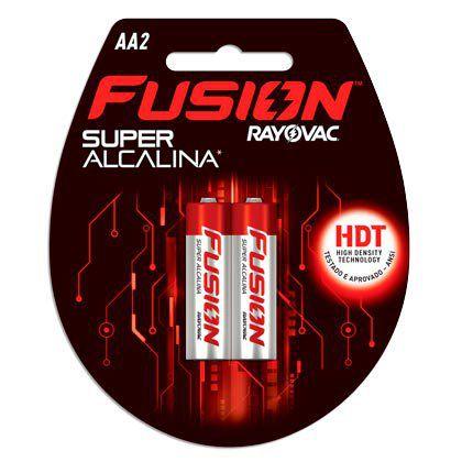 Pilhas Super Alcalinas Rayovac Fusion Pequena AA 02 Pilhas