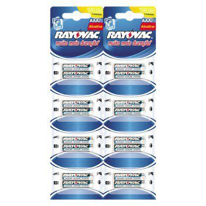 Pilhas Alcalinas Rayovac Palito AAA Cartela com 16 unidades