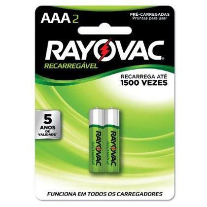Pilhas Rayovac Recarregaveis Palito AAA Cartela com 02 Pilhas