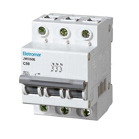 Disjuntor Din Tripolar Eletromar Curva C 220-400V 50A