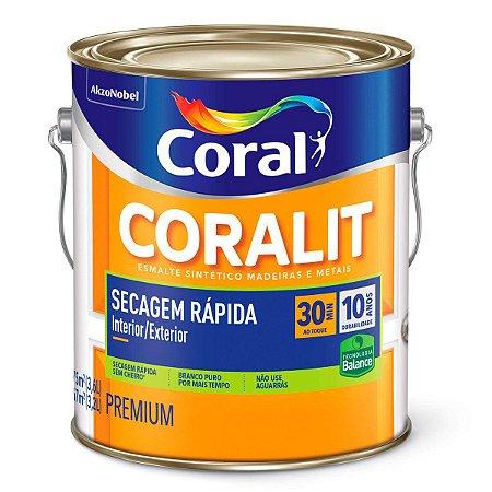 Esmalte Sintético Coralit Secagem Rápida Balance Brilhante Branco Gelo Galão 3,6 Litros