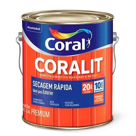Esmalte Sintético Coralit Secagem Rápida Brilhante Cinza Médio Galão 3,6 Litros