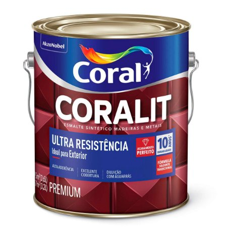 Esmalte Sintético Coralit Ultra Resistência Alto Brilho Creme Galão 3,6 Litros