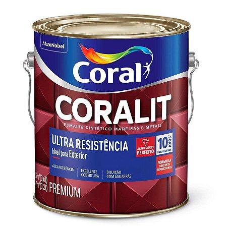 Esmalte Sintético Coralit Ultra Resistência Alto Brilho Marrom Conhaque Galão 3,6 Litros