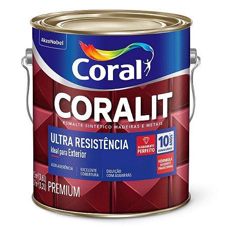 Esmalte Sintético Coralit Ultra Resistência Fosco Preto Galão 3,6 Litros
