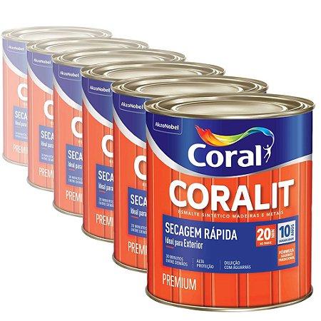 Esmalte Sintético Coralit Secagem Rápida Acetinado Branco 900ml com 06 Unidades