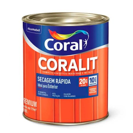 Esmalte Sintético Coralit Secagem Rápida Brilhante Preto 1/32 com 12 Unidades