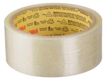 Fita Adesiva 3M para Embalagem 45mm x 45m Transparente Kit com 4 Unidades