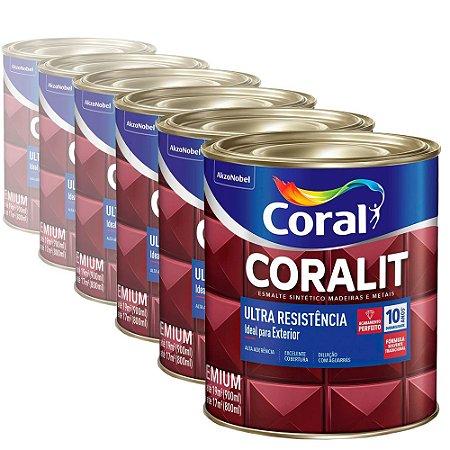 Esmalte Sintético Ultra Resistência Coralit Coral Acetinado Branco 900ml com 06 Unidades
