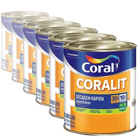 Esmalte Sintético Coralit Acetinado Coral Secagem Rápida Balance Branco 900ml com 06 Unidades
