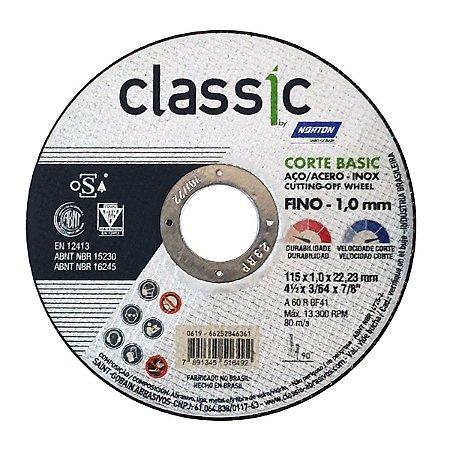 Disco de Corte Norton Classic Basic 115x1,0x22,2mm Inox