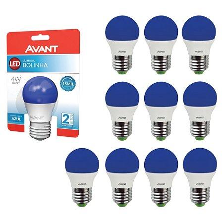 Lâmpada Avant Super LED Bolinha 4W Azul Kit com 10 Unidades