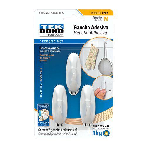 Gancho Adesivo Tek Bond Ônix Médio Embalagem com 03 Unidades