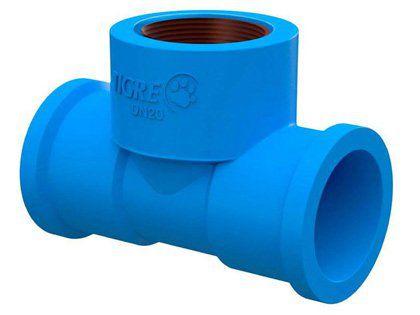 """Tê 90º Tigre Soldável PVC 25 x 1/2"""" Azul Embalagem com 15 Unidades"""