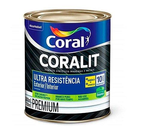 Esmalte Sintético Coralit Ultra Resistência Balance Acetinado Branco 800ml com 06 Unidades