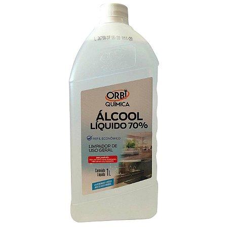 Álcool Liquido 70% Orbi Limpeza Geral 1L Caixa com 6 Unidades