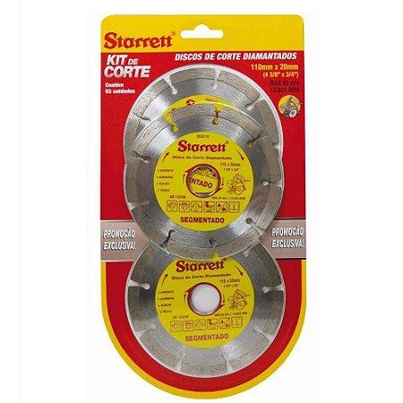Disco Starrett Diamantado Segmentado Cartela com 03 Discos