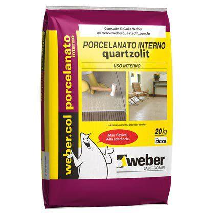 Argamassa Quartzolit para Porcelanato uso Interno Pacote com 20 Kg cor Cinza