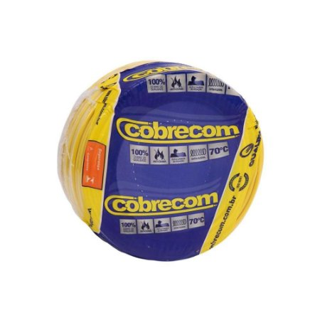 Fio Flexível Cobrecom 2,50mm 450/750v Amarelo Rolo com 100 Metros
