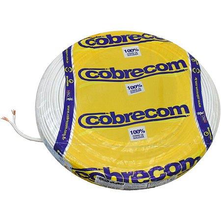 Fio Paralelo Cobrecom 2 x 0,50 mm 300v Branco Rolo com 100 Metros