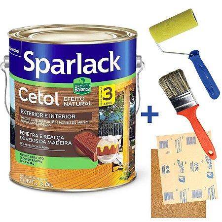 KIT Verniz Cetol Sparlack Balance Acetinado Natural Exterior e Interior Galão 3,6 Litros