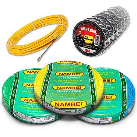 Combo Fio Flexível Nambei 2,5mm 450/750V 3 Rolos 100 Metros + 10 Fitas Isolante + 1 Passa Fio