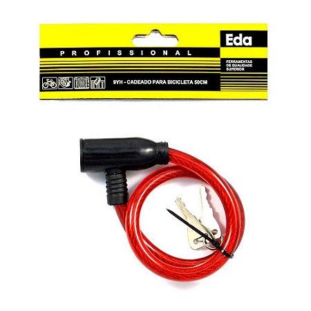 Cadeado para Bicicleta Bike EDA 50cm Vermelho com Chave