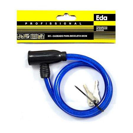 Cadeado para Bicicleta Bike EDA 60cm Azul com Chave