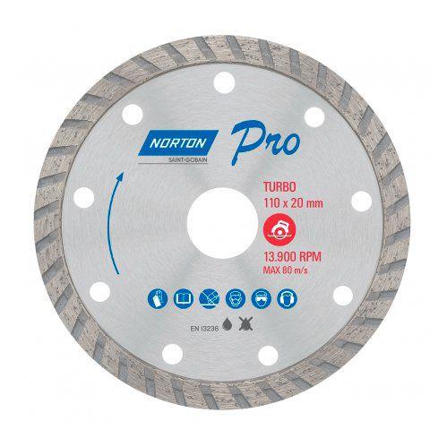 Disco Diamantado Norton Pro Turbo Contínuo 110x20mm