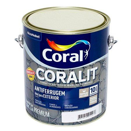 Esmalte Sintético Coralit Antiferrugem Cinza Galão com 3,6 Litros