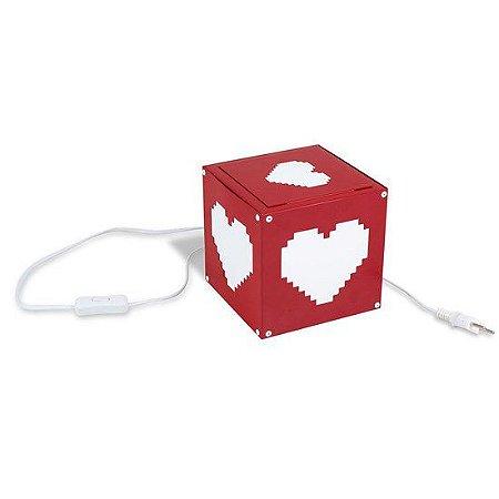 Luminária de mesa coração pixel