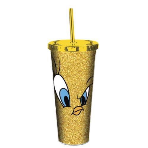 Copo Canudo Glitter Looney Tunes: Piu Piu