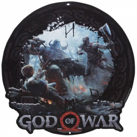 Placa Alumínio - God of War - Kratos e Atreus contra Trol