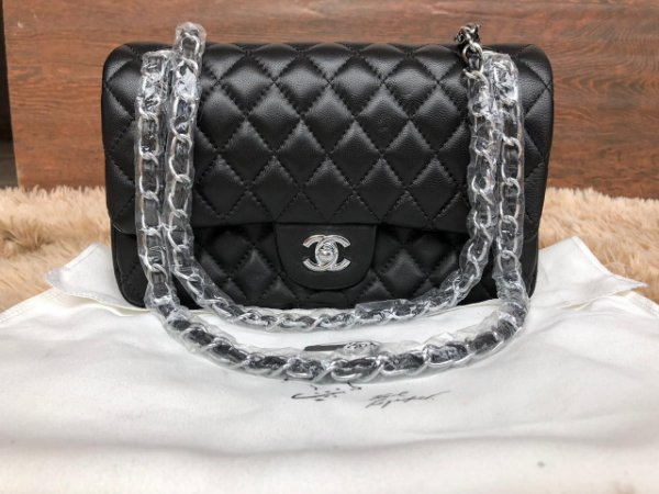 2e64b56c2 Chanel 2.55 classic Preta 7A couro liso metal prata - TUDO DE LUXO