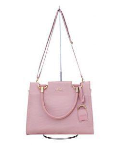 85a420bad Bolsa Arezzo cadeado 2 linha rosa bebe - TUDO DE LUXO