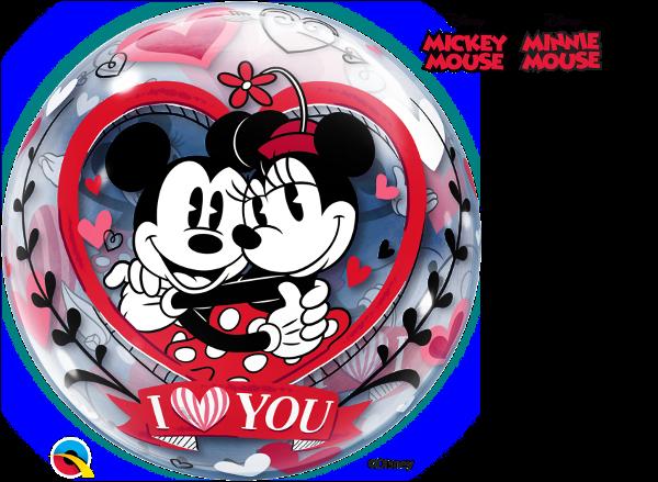 Balão Bubble Disney Mickey e Minnie Eu Te Amo
