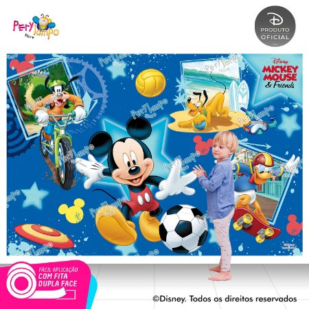 Painel sublimado em tecido Mickey Esportes - Tamanho 2,20m x 1,45m