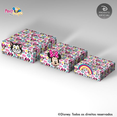 Kit Suportes Bandejas Decorativa - Minnie Arco- Íris