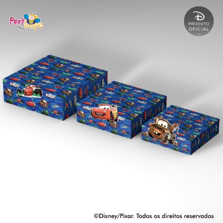 Kit 3 Suportes (Bandejas) para doces com aplique - Carros - Pista Tókio