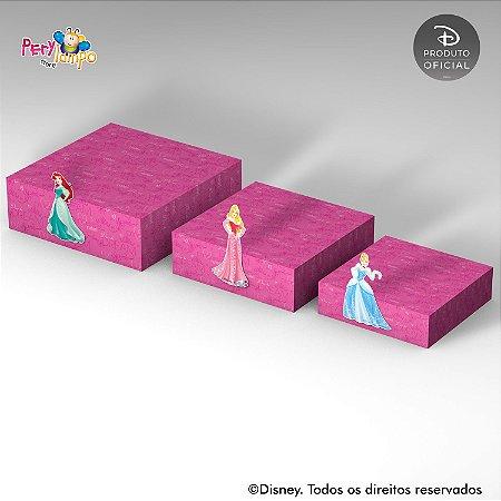 Kit 3 Suportes (Bandejas) para doces com aplique - Princesas Disney Empoderadas