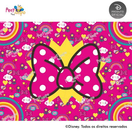 Lona Decorativo - Minnie Arco-Íris - 2,0 x 1,5m