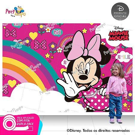 Painel festa Decorativo Minnie Arco-Íris - 2,20m x 1,45m
