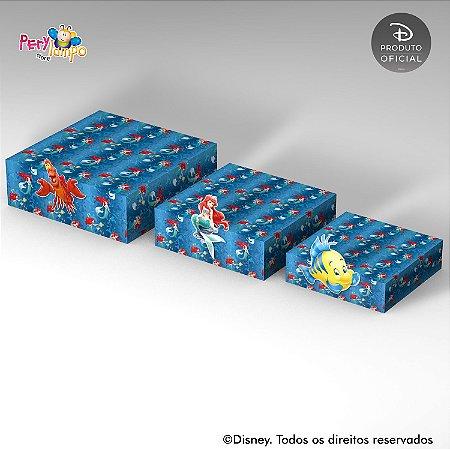 Kit 3 Suportes (Bandejas) para doces com aplique - Pequena Sereia - Ariel Fundo do mar