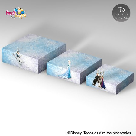 Kit Suportes Bandejas Decorativa - Frozen - Neve