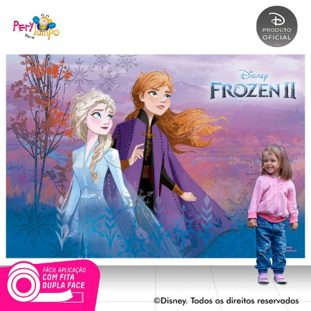 Painel Festa Decorativo Frozen 2 - Aquarela 1 - 2,20m x1,45m